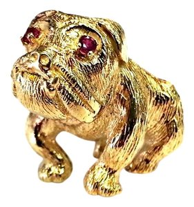 DeWitt's Vintage Bulldog 14 Karat Yellow Gold Pin