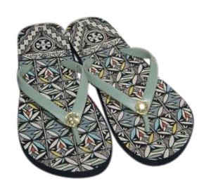 Tory Burch Rubber New In Box Silver Sage-Acoma Sandals