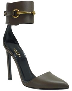 Gucci 353798 Pump Leather Grey Field Pumps