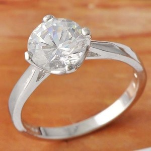 Big Classic White Topaz Solitare Engagement Ring Free Shipping