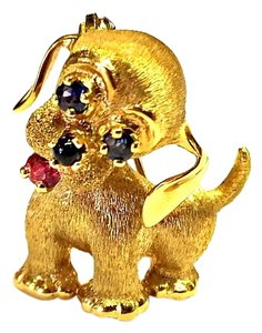 DeWitt's Vintage Puppy Pin 14 Karat Yellow Gold With Sapphires Onyx & Ruby