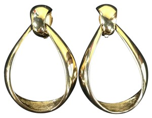 St. John St. John Vintage Gold Plated Tear Drop Clip On Earrings