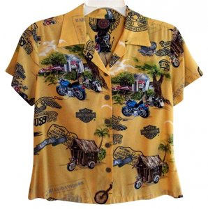 Harley Davidson Short Sleeve Button Front Shirt Color Size 4 Top Yellow, multi, motorcycle design.