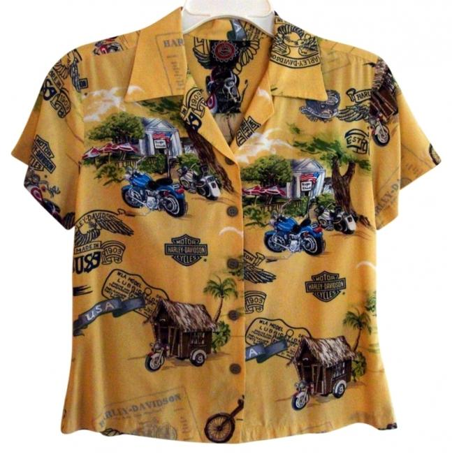 Preload https://img-static.tradesy.com/item/18397/harley-davidson-yellow-multi-motorcycle-design-short-sleeve-button-front-shirt-color-blouse-size-4-s-0-0-650-650.jpg