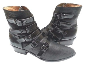 L.A.M.B. Decorated Buckled Leather Upper Stacked Heel Perforated Leather Side Zip Closure Black Boots