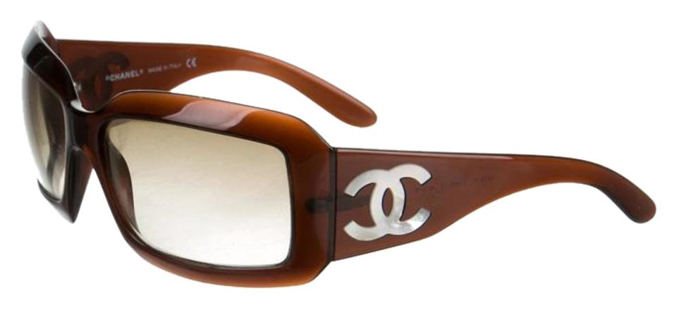 956c794d6a Chanel Brown Chanel Rectangular Interlocking Mother of Pearl CC Sunglasses  ...