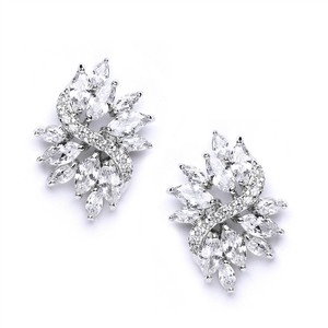 Vintage Glam Marquis Crystals Bridal Earrings