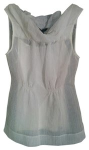 BCBGMAXAZRIA Sleeveless Sheer Woven Top White
