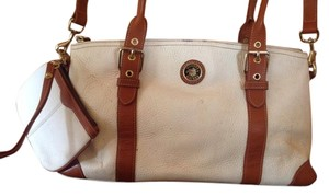 Dooney & Bourke Borke Leather Satchel in White & Brown