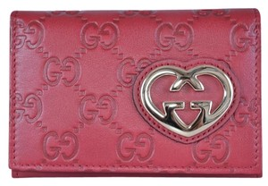 Gucci Gucci Women's Raspberry Leather GG Guccissima Heart Card Case Wallet