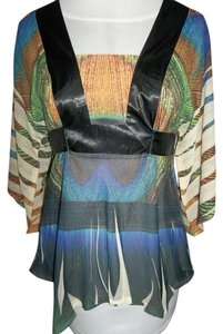 One World Peacock Color Small Roomy Tie Back Layering Tunic