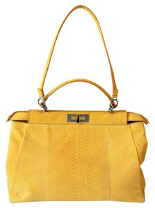 Fendi Brown Sueded Python Tote in Yellow