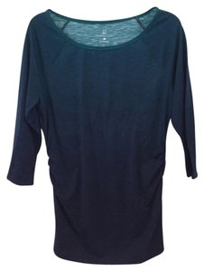 New York & Company 3/4 Sleeve Ruched T Shirt Blue ombre