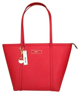 Donna Karan Dkny Crimson Saffiano Tote in Red