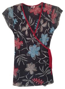 Sweet Pea by Stacy Frati Nylon Small Top Black/blue floral
