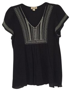 One World Pleated Embroidered Top Black