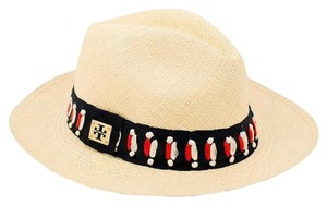 Tory Burch Top Stitch Fedora Natural Multi One Size