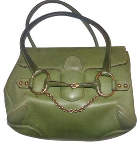Gucci Equestrian Accents Bold Gold Accents Rare And Unique High-end Bohemian Two Strap Satchel in ivy green leather