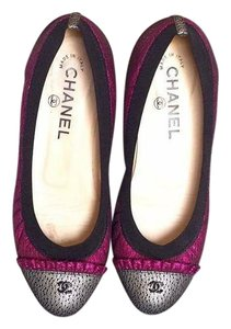 Chanel Black, silver and fuchsia Flats
