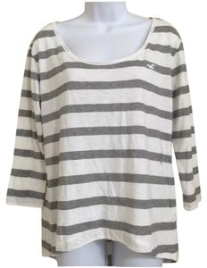 Hollister Striped Top Gray & White