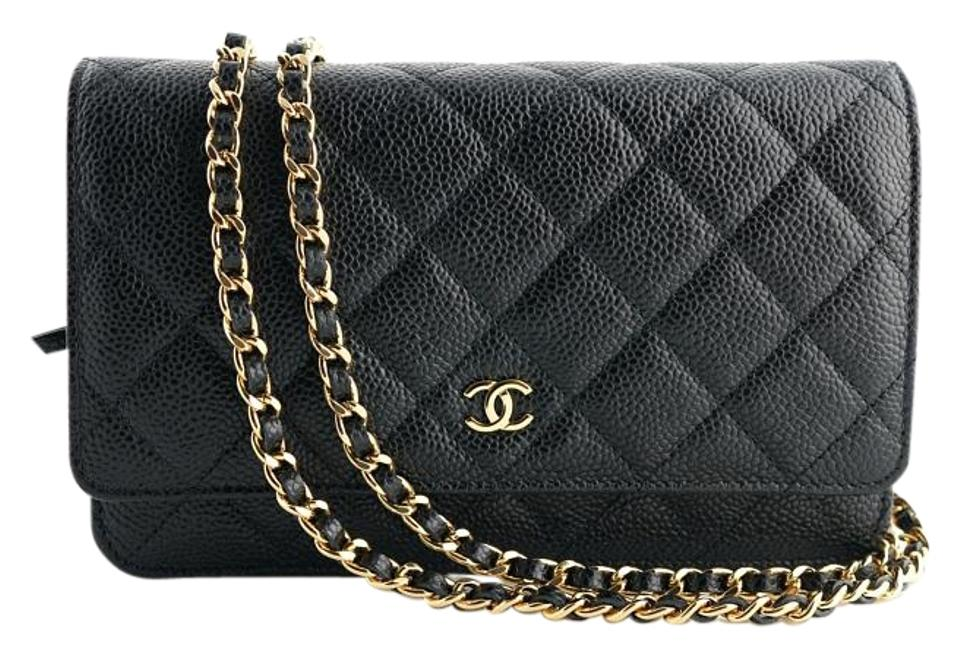 66a3affb34a0 Chanel Wallet on Chain Quilted Woc Gold Hardware Black Caviar ...