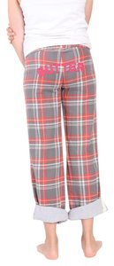 Butter School Children New Flannel Cotton Wide Leg Pants Grey Red Cream Multi Plaid
