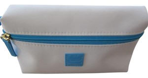 Clarins White and Blue Makeup Cosmetics Bag Case With Wristlet