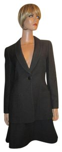 Armani Collezioni Black Wool / Silk Blend Waffle Texture Skirt Suit