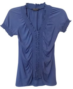 BCBGMAXAZRIA Bcbg Knit Ruched Like New Long Top Blue
