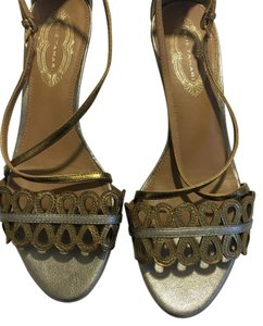 Elie Tahari Metallic Leather Woven Two-tone Gold Sandals