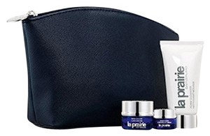 la prairie La Prairie Navy Blue Saffiano Faux Leather Makeup Cosmetics Bag Case