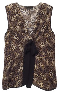 BCBGMAXAZRIA Bcbg Medium Silk Animal Print Top Black, brown, tan