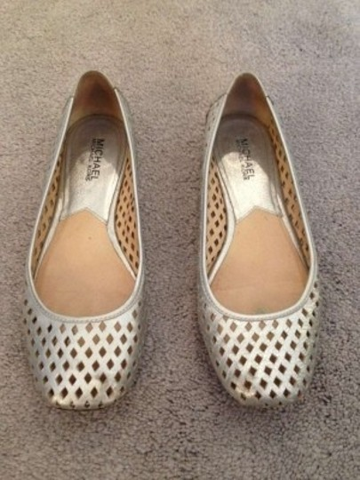 Michael Kors Cut-out Cutaway Metallic Silver Flats