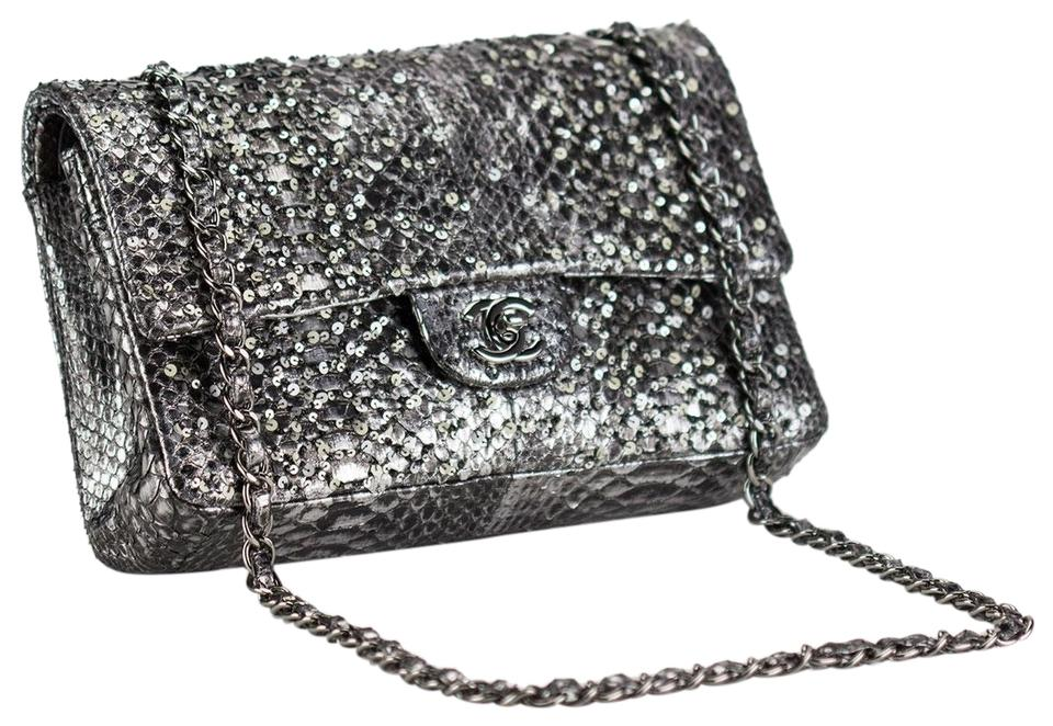d38c7bb15553 Chanel Python Metallic Black Medium Limited Edition Shoulder Bag Image 0 ...