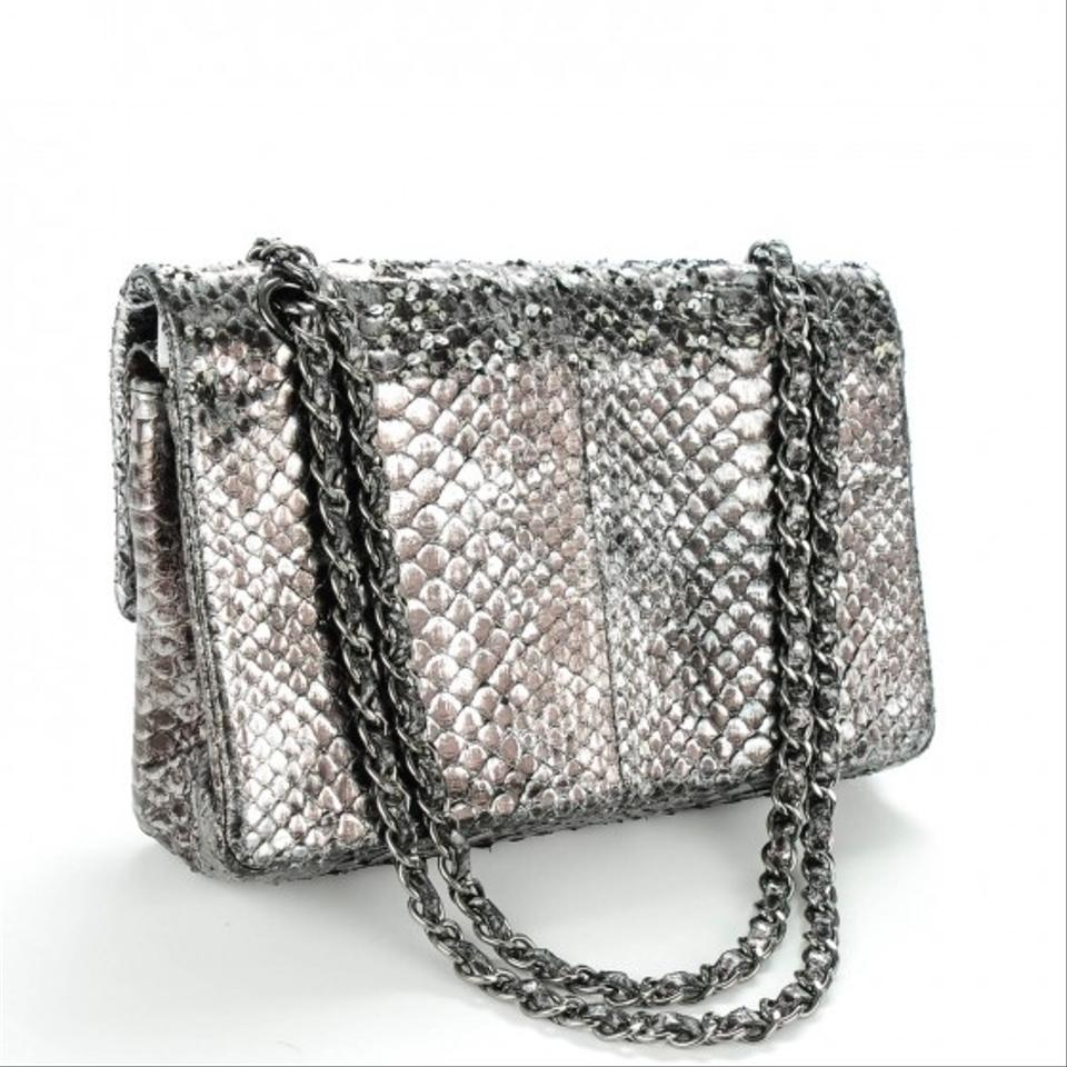 Chanel Classic Flap Exotic Limited Edition Metallic Silver Grey Python Shoulder Bag Tradesy