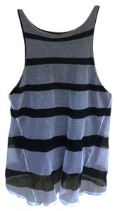 Band of Outsiders Mesh Striped Designer Racerback Top BLack and white