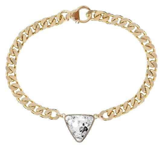 eklexic TRIANGLE CRYSTAL PENDANT & CURB CHAIN NECKLACE (Gold)