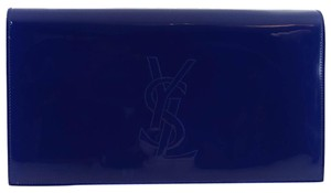 Saint Laurent Ysl 361120 Belle Leather Blue Clutch