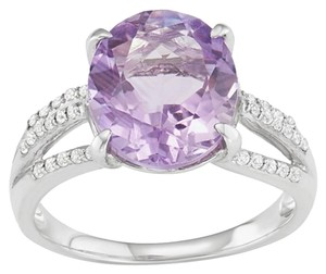 Genuine Amethyst and Lab-Created White Sapphire Ring