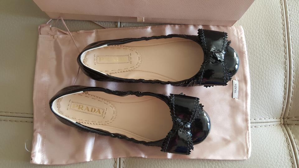 Bow Flats On Black The Prada Patent Leather Ballerina Toe WOxpga