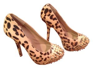 Steve Madden Gold Studs Beige Printed Cow Hair Platforms