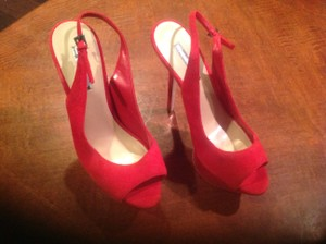 Halston Suede Red Platforms