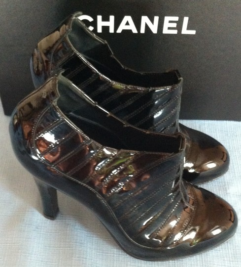 Chanel Patent Leather Heels Tuffed Black Boots