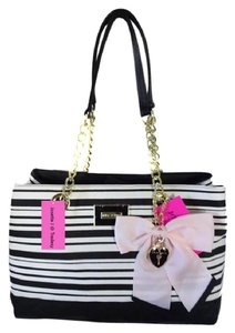 Betsey Johnson Satchel Bone/Black Tote in black/bone stripe