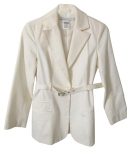 Laundry by Shelli Segal Formal Buckle Office Professional White Jacket
