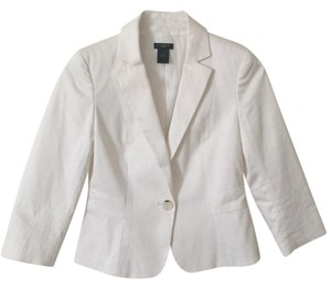 Ann Taylor Spring Jacket Work Office Church Ruffle White Blazer