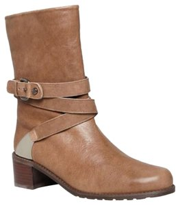 Stuart Weitzman Leather Style No:qw85934 Ankle Strap Plate Detail Pull On Rock Brown Boots