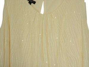 Talbots Sequin Embroidered Top Ivory with clear sequins