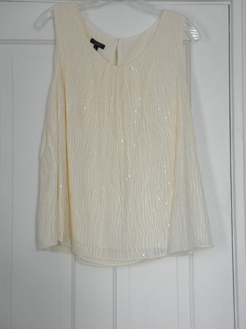 Talbots Embroidered Top Ivory with clear sequins