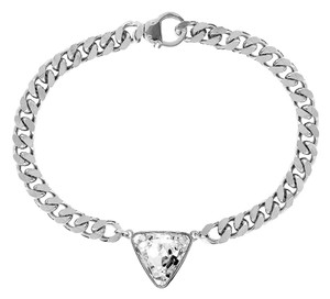eklexic TRIANGLE CRYSTAL PENDANT & CURB CHAIN NECKLACE (Silver)